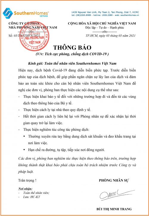 THÔNG BÁO TÍCH CỰC PHÒNG, CHỐNG DỊCH COVID19